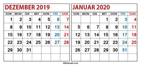 kalender dezember januar kostenlose druckbare vorlage