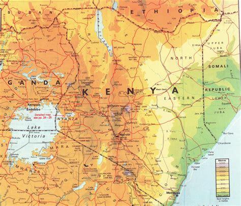 detailed physical map  kenya kenya detailed physical