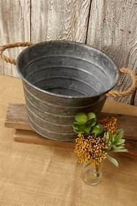 galvanized, metal, bucket, with, rope, handles, 7, u0026quot