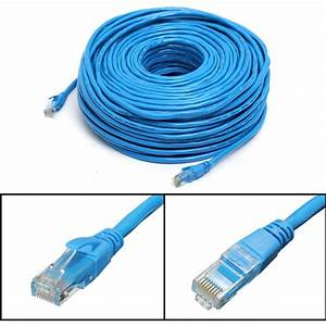 50m  164feet Rj45 Cat6 Cat6e Ethernet Internet Lan Wire Network Cable Cord Blue