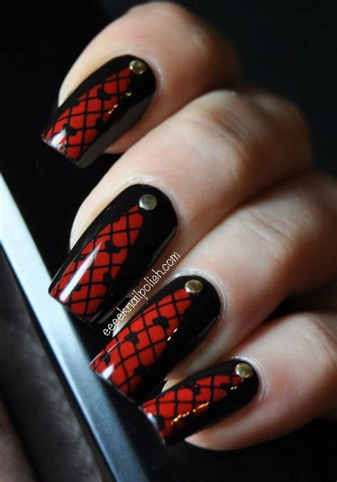 stylish red  black nail designs