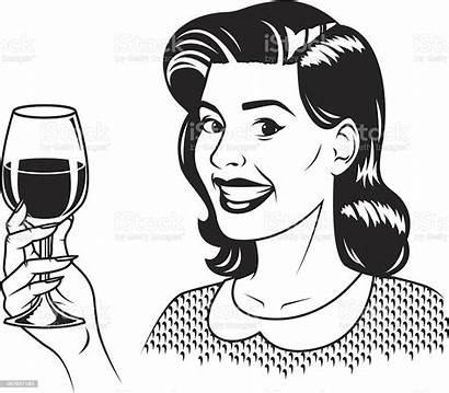 Wine Vector Retro Woman Drinking Clip Illustrations