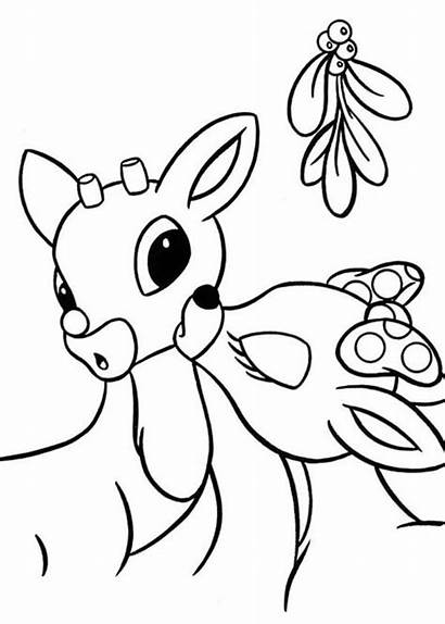Rudolph Clarice Coloring Pages Printable Reindeer Mistletoe