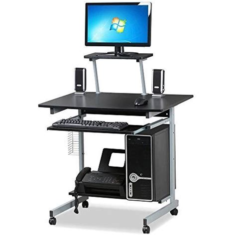 computer desk on wheels go2buy small spaces computer desk with keyboard tray