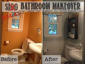 Two it yourself reveal 100 small bathroom makeover for Small bathroom makeovers cheap