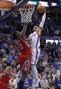 Russell Westbrook nutmegged Nene just before scoring a ...