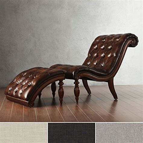 brown leather chaise lounge chair  ottoman victorian