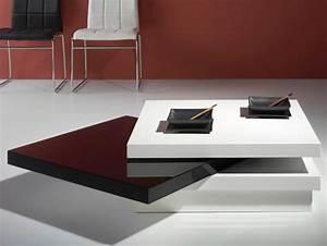 Table Basse Carrée Blanc Laqué : table basse carr e pivotante laqu blanc et noir matiss ~ Teatrodelosmanantiales.com Idées de Décoration