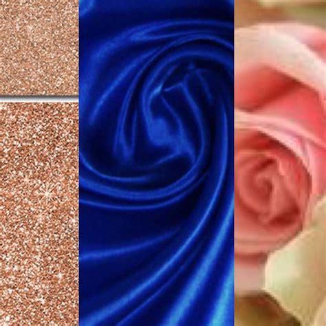 color scheme cobalt blue rose gold  blush wedding