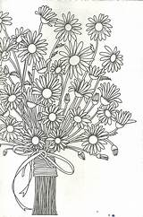 Coloring Daisy Bouquet Colouring Flowers Sheets Flower Drawing Printable Jar Mason Jars Drawings Floral Spring sketch template