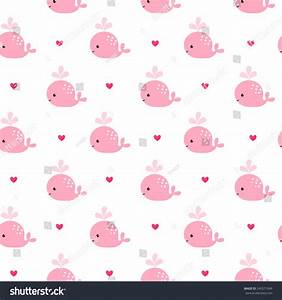 Cute background cartoon pink whales baby stock vector