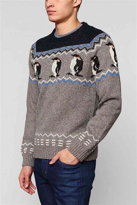 penguin sweater outfitters character penguin sweater in gray
