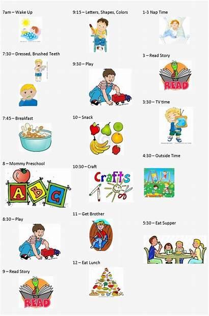 Preschool Schedule Daily Clipart Calendar Preschoolers Disney