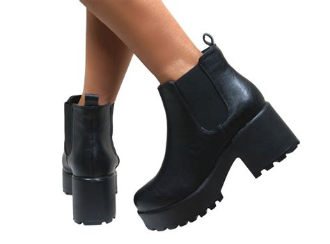 Womens Cleated Sole High Heel Block Platform Low Ankle