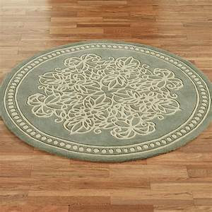 Florentia lace wool round area rugs for Round area rug