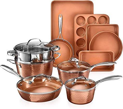 gotham steel hammered copper collection  piece premium cookware bakeware set  nonstick