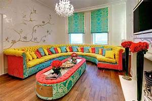 Colorful interior design by rebecca james for Colorful living room furniture