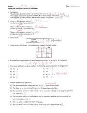 quantum number practice worksheet key name m ev date