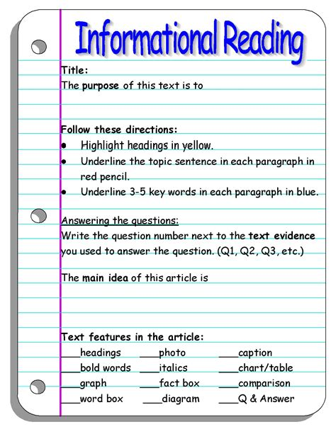 Reading Informational Text Worksheet