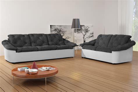canape 2 3 places salon fixe en tissu 3 et 2 places gris blanc yolinda