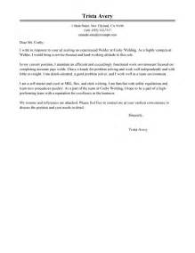Welding Resume Cover Letter by Welder Cover Letter Exles Construction Cover Letter Sles Livecareer