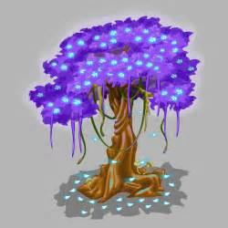 baum mit herzblättern baum mit violettem laub und blauen fallenden bl 228 ttern vektor abbildung bild 80975735