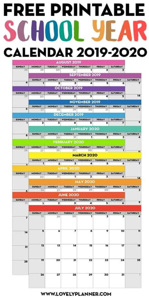 printable school calendar lovely planner