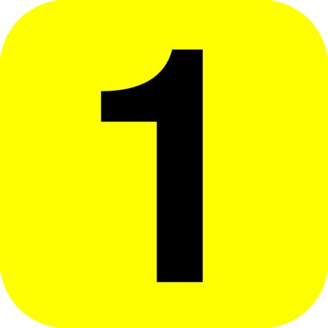 Yellow Rounded Number One Clip Art at Clkercom vector