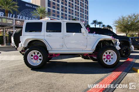 jeep wrangler custom pink 2014 sema white pink dub jeep jk wrangler unlimited