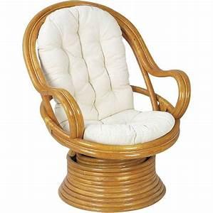 Coussin Fauteuil Jardin : fauteuil pivotant et basculant en rotin avec coussins ~ Teatrodelosmanantiales.com Idées de Décoration