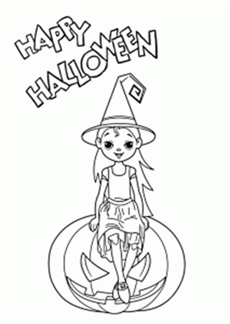 Halloween Little witch coloring page for kids printable