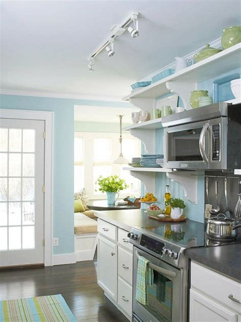 blue kitchen decorating ideas before and after cottage kitchen open shelving nooks