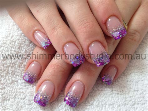 Glitter Nails, Gel Nails, Purple And Silver, Nail Art