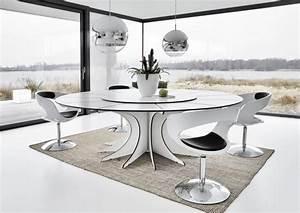 table salle a manger blanche et noire et ensemble graphique With deco cuisine avec table salle manger ronde extensible design
