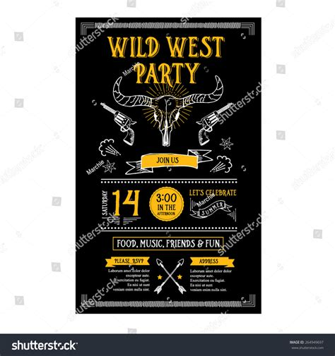 invitation wild west party flyertypography design stock