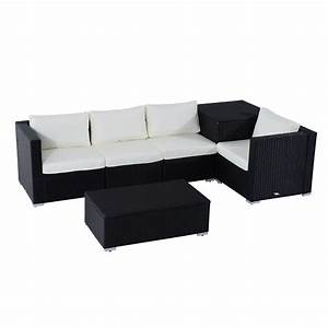 outsunny 6pc rattan wicker set garden sectional furniture With outdoor sectional sofa with storage