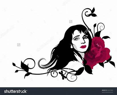 Clip Face Clipart Woman Stylish Vector Rose
