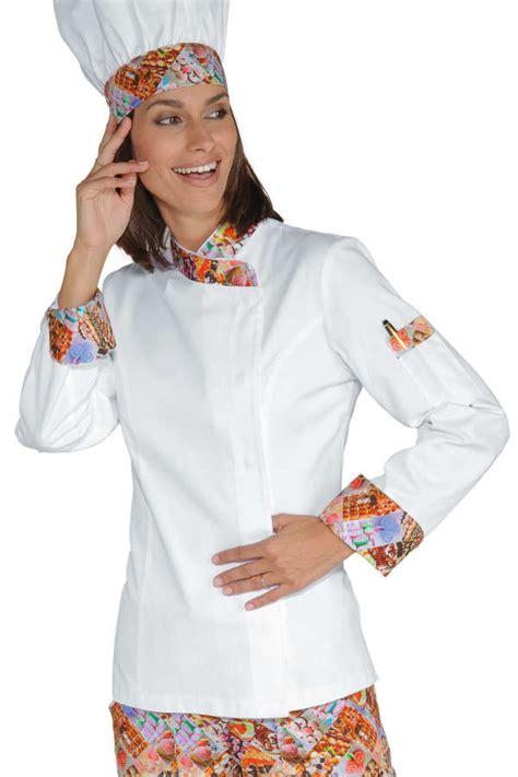 tenu de cuisine veste chef femme snaps blanc delicious 100 coton