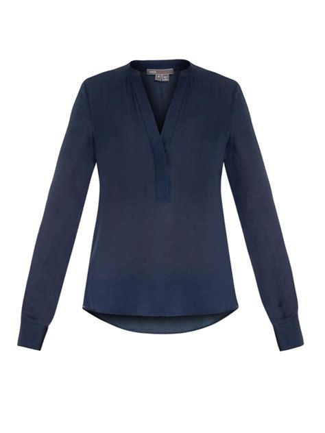 vince  neck silk blouse  blue lyst