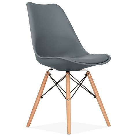 chaise eames grise grey pad dining chair with dsw style wood legs
