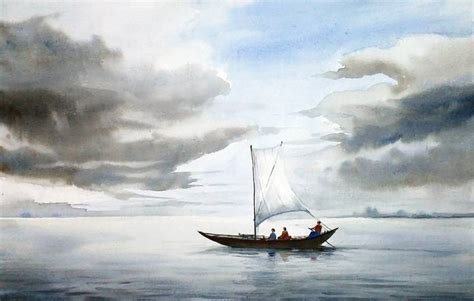 modern metal wall saatchi cloudy river boat watercolor painting on