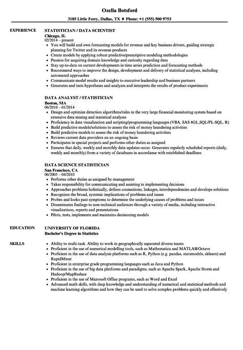 Resume Statistics by Data Statistician Resume Sles Velvet