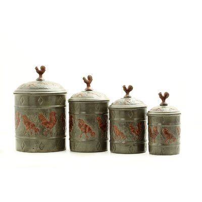 Country Canister Sets For Kitchen by Country Canister Set 4 Pc Rooster Metal Sugar