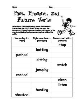 verb tenses inflected endings worksheet past present