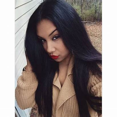 Straight Hair Jet Silky Wig Indian Lace