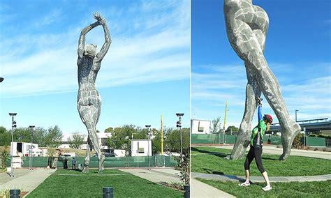 san leandros statue  naked woman designed  burning