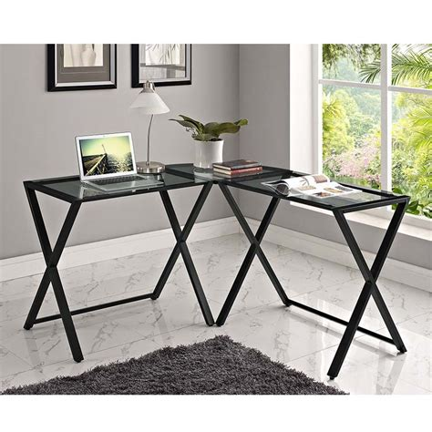 Glass And Metal Corner Computer Desk Black by Walker Edison X Frame Smoked Glass And Steel Corner