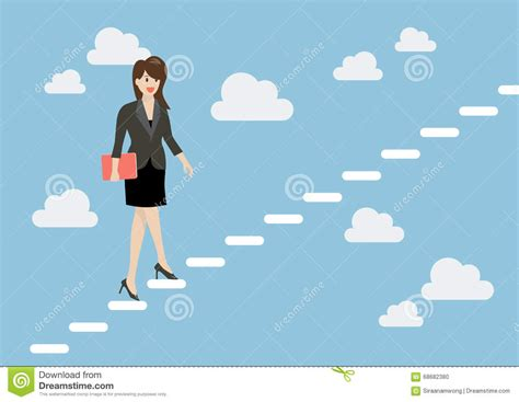 Business Woman Stepping Up A Staircase In The Sky Stock