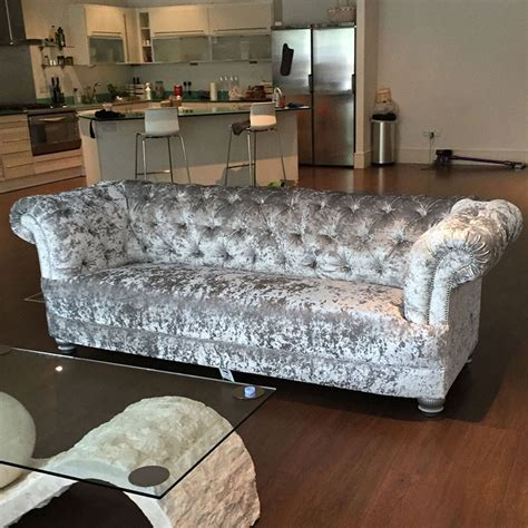 bespoke apollo  crushed velvet chesterfield sofa