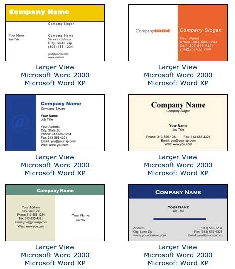 Business Card Template For Microsoft Word Free Business